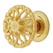 Cast Brass Ornate Cabinet Knob - 1 1/4