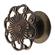 Cast-Brass Ornate Cabinet Knob in Antique-By-Hand - 1 3/8