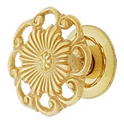 Cast Brass Ornate Cabinet Knob - 1 3/8