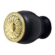 Small Victorian Style Ebonized Wood Knob with Decorative Brass Insert (item #R-08BM-1258-PB)