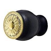 Small Victorian Style Ebonized Wood Knob with Decorative Brass Insert (item #R-08BM-1258-PB)