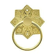 Eastlake Star Pattern Ring Pull In Unlacquered Brass (item #R-08BM-1259-PB)