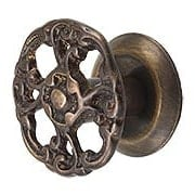Small Rococo Style Cabinet Knob in Antique-by-Hand - 1 3/16
