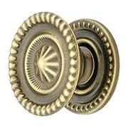 Medium Federal Style Knob & Backplate in Antique-By-Hand - 1 1/4-Inch Diameter (item #R-08BM-1298-ABH)
