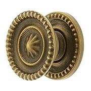 Small Federal Style Knob & Backplate in Antique-By-Hand - 1-Inch Diameter (item #R-08BM-1299-ABH)