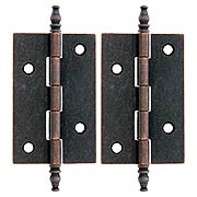 Pair of Brass Plated Steeple Tip Hinges - 2 1/2