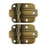Pair Of Solid Brass Art Deco Surface Cabinet Hinges In Antique By Hand (