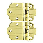 Pair of Solid Brass Deco-Style Offset Cabinet Hinges - 1 1/2