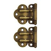Pair of Solid Brass Offset McDougal Cabinet Hinges in Antique-By-Hand (item #R-08BM-1591-ABH)