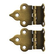 Pair of Solid Brass Gothic-Style Offset Cabinet Hinges in Antique-By-Hand - 1 1/2-Inch x 2 1/8-Inch (item #R-08BM-1594-ABH)