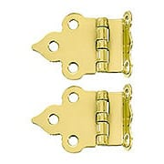 Pair of Solid Brass Gothic-Style Offset Cabinet Hinges - 1 1/2-Inch x 2 1/8-Inch (item #R-08BM-1594X)