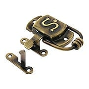 Solid Brass Right-Hand S Hoosier Latch in Antique-By Hand (item #R-08BM-1596-ABH)