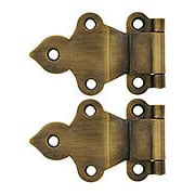 Pair of Solid Brass Gothic-Style Offset Cabinet Hinges in Antique-By-Hand - 1 1/2-Inch x 2 3/8-Inch (item #R-08BM-1599-ABH)