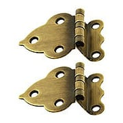 Pair of Offset Hoosier Cabinet Hinges in Antique-By-Hand (item #R-08BM-1600-ABH)