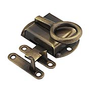 Solid Brass Hoosier Right-Hand Cabinet Latch in Antique-By-Hand (item #R-08BM-1603-ABH)