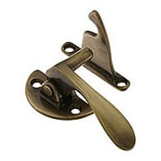Solid Brass Offset Left-Hand Hoosier Latch in Antique-By-Hand - 3/8