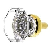 Clear Octagonal Glass Knob with Brass Base 1 1/8-Inch Diameter (item #R-08BM-5712X)