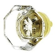 Clear Octagonal Glass Knob with Brass Base 1 3/8-Inch Diameter (item #R-08BM-5722X)