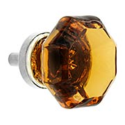 Octagonal Amber Glass Knob With Brass Base (item #R-08BM-5727X)