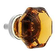 Octagonal Amber Glass Knob With Brass Base (item #R-08BM-5727X)