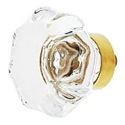 Clear Octagonal Glass Knob with Brass Base 1 5/8-Inch Diameter (item #R-08BM-5732X)