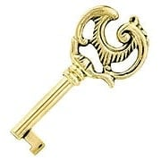 Small Fancy Solid Brass Drawer Key (item #R-08BM-6525-PB)