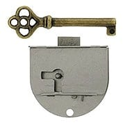 Polished Steel Right-Hand Drawer or Cabinet Lock (item #R-08BM-6533)