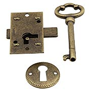 Small Brass Plated Non-Mortise Cabinet Lock in Antique Brass (item #R-08BM-6536-AB)