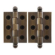 Pair of Premium Solid-Brass Cabinet Hinges with Ball Tips - 2 x 1 1/2-Inch in Antique-By-Hand (item #R-08DH-CH2015U3-ABH)