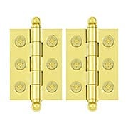 Pair of Premium Solid Brass Cabinet Hinges with Ball Tips - 2