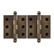 Pair of Premium Solid-Brass Cabinet Hinges - 2 x 2-Inch in Antique-By-Hand (item #R-08DH-CH2020U3-ABH)
