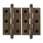 Pair of Premium Solid Brass Cabinet Hinges - 2 1/2 x 1 11/16-Inch in Antique-By-Hand (item #R-08DH-CH2517U3-ABH)
