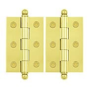 "Pair of Premium Solid Brass Cabinet Hinges - 2 1/2"" x 1 11/16"" (item #R-08DH-CH2517X)"