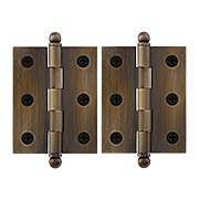Pair of Solid Brass Cabinet Hinges - 2 1/2 x 2-Inch in Antique-By-Hand (item #R-08DH-CH2520U3-ABH)