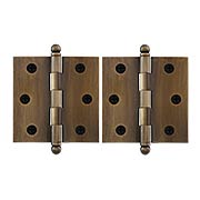 Pair of Solid Brass Cabinet Hinges - 2 1/2 x 2 1/2-Inch in Antique-By-Hand (item #R-08DH-CH2525U3-ABH)