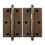 Pair of Solid Brass Cabinet Hinges - 3 x 2-Inch in Antique-By-Hand (item #R-08DH-CH3020U3-ABH)