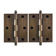 Pair of Premium Solid-Brass Cabinet Hinges with Ball Tips - 3 x 2 1/2-Inch in Antique-By-Hand (item #R-08DH-CH3025U3-ABH)