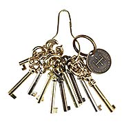 Ring of 10 Unique Barrel Keys For Cabinet & Furniture Locks (item #R-08HH-BK-10)