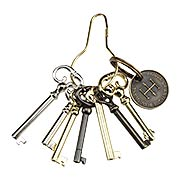 Ring of 7 Unique Barrel Keys For Cabinet & Furniture Locks (item #R-08HH-BK-7)