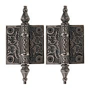 Pair of Decorative Cast Iron Cabinet Hinges - 2