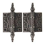 Pair of Decorative Cast Iron Cabinet Hinges - 2