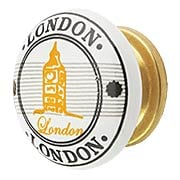 White Porcelain London Souvenir Cabinet Knob with Brass Base (item #R-08MG-360X)