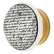 White Porcelain Vintage Text Cabinet Knob with Brass Base (item #R-08MG-361X)