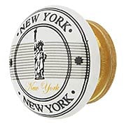 White Porcelain Statue of Liberty Souvenir Cabinet Knob with Brass Base (item #R-08MG-362X)