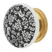 White Porcelain Floral Cabinet Knob with Brass Base (item #R-08MG-363X)