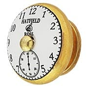 White Porcelain Pocket-Watch Face Cabinet Knob with Brass Base (item #R-08MG-365X)