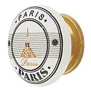 White Porcelain Paris Eiffel Tower Cabinet Knob with Brass Base (item #R-08MG-367X)