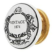 White Porcelain 1874 Vintage Label Cabinet Knob with Brass Base (item #R-08MG-369X)