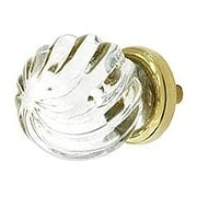 Swirling Globe Style Glass Knob With Solid Brass Base (item #R-08MH-MGKJ03X)