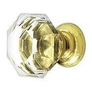 Large Octagonal Cut Crystal Knob With Solid Brass Base (item #R-08MH-MGMP14X)